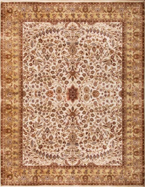 Luxurious Fl Creeper Persian Style Ivory Beige Wool Rug 9 X12
