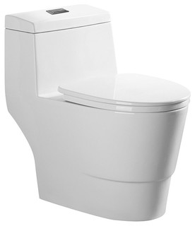 Dual Flush Elongated 1 Piece Toilet With Soft Closing Seat Contemporary Toilets By