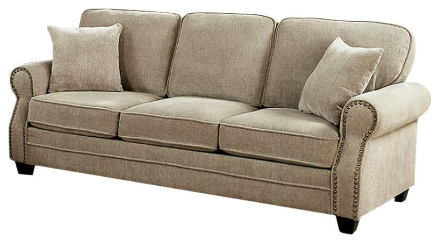 Lynne Transitional Style Chenille Fabric Sofa, Brown