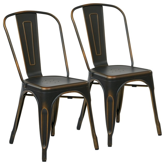 Bristow Armless Chairs Antique Copper Set Of 2 Industrial Dining Chairs
