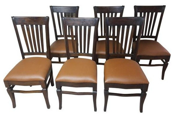 Hand Carved Teak Wood Leather Dining Chair Set Of 6 Transitional Chairs By Favors Handicraft