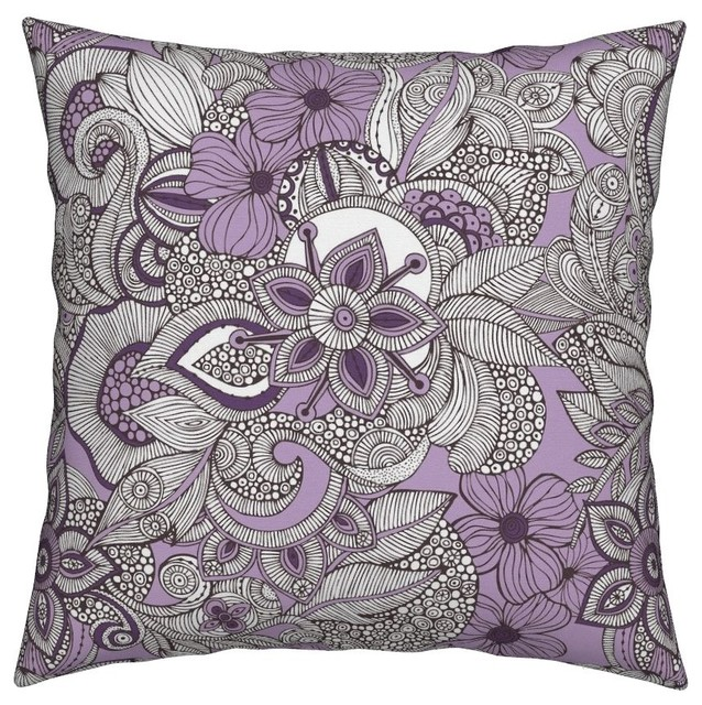 Flowers Doodles Purple Brown Nature Abstract Throw Pillow