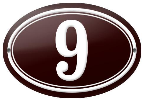 """Number """"9"""" Enamelled Plaque, Bordeaux Red, Double Border"""