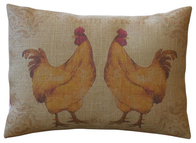 "French Hens Burlap Pillow, 12""x16""."