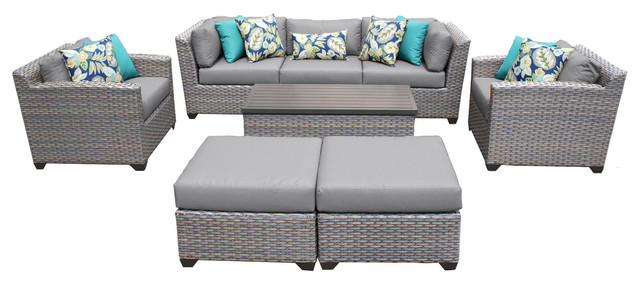 Catalina Outdoor Wicker 8 Piece Patio Set, Gray