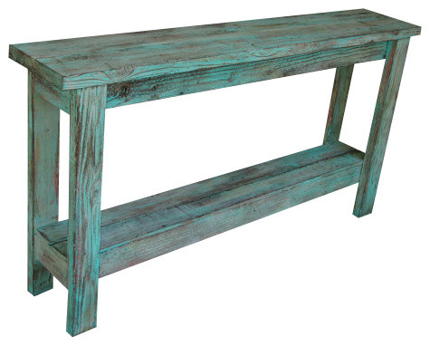 Charmant Aqua Distressed Sofa Table
