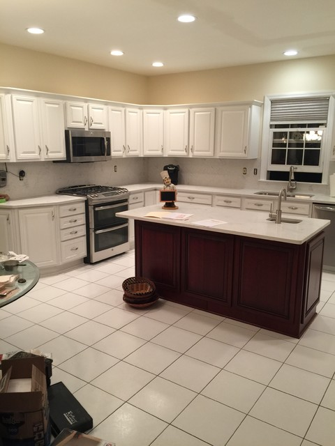 Cabinet Refacing 2 Toned White With Cherry Island And