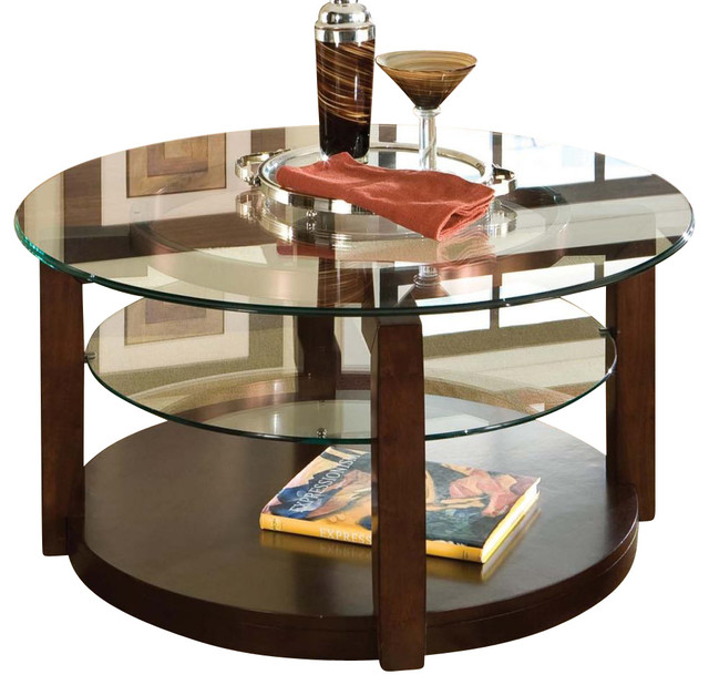 Standard Furniture Coronado Round Tail Table With Casters Cherry