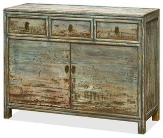 Chinese Elm Wood Peking Cabinet, Gray