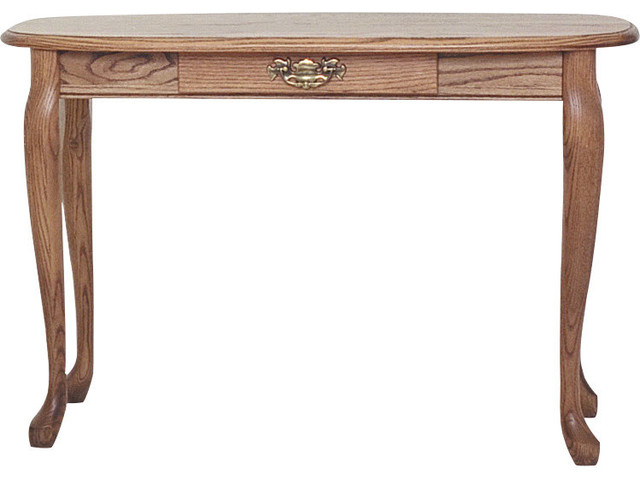 Solid Oak Queen Anne Sofa Table With Drawer Autumn