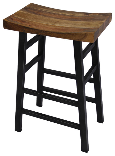 The Urban Port Wooden Saddle Seat 30 Barstool With Ladder Base, Brown And Black.