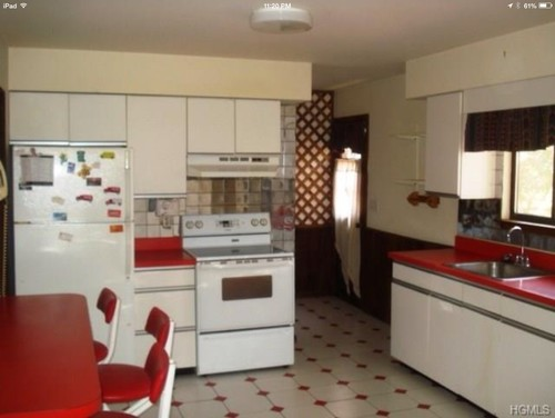 what kitchen style goes with octagon & red dot floor tiles?