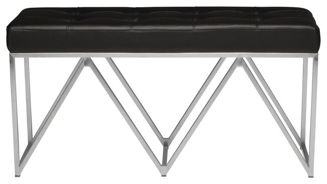 Celia Occassional Bench, Black And Brushed Stainless Steel. -1