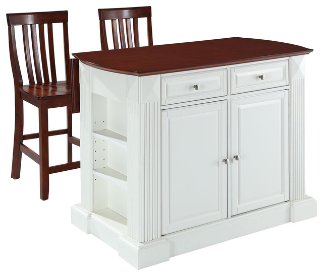 "Kitchen Island Cart With Stools drop leaf breakfast kitchen island, white, 24"" cherry school house"