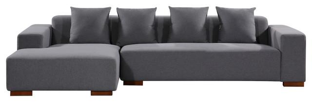 Lyon Upholstered Sectional Sofa Dark Gray Right