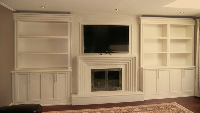Built In Units Around Fireplace Traditional Toronto