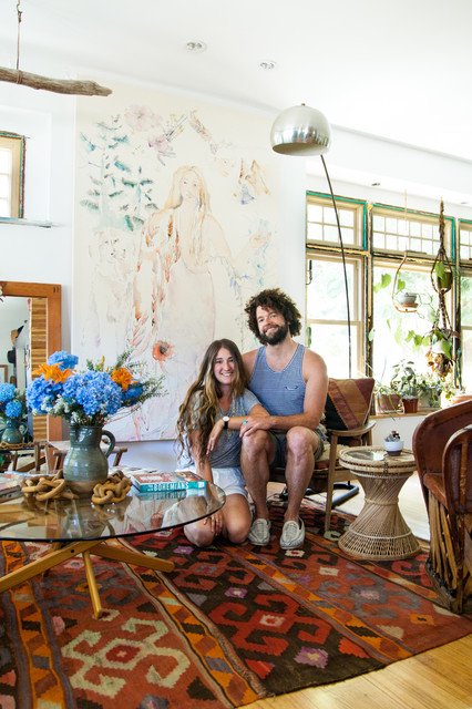 My Houzz: Bohemian Home Inspired by Organic 1970s Design eclectic-living-room