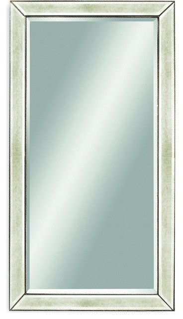 beaded leaner mirror transitional wall mirrors by