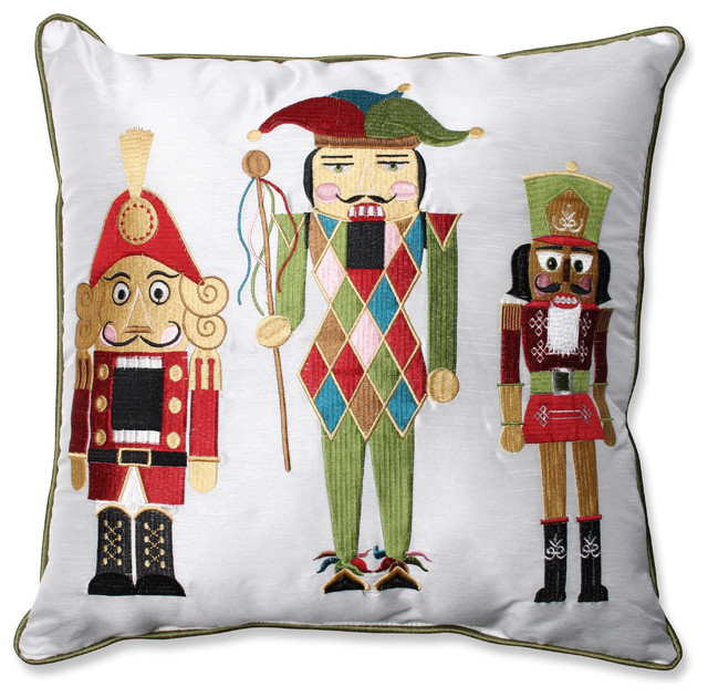 Traditional Accent Pillows : Holiday Embroidered Nutcrackers Throw Pillow - Traditional - Decorative Pillows - by Pillow ...