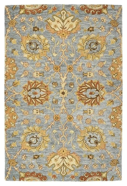Catherine Hand-Tufted Wool Rug, Gray And Gold, 5&x27;x7&x27;6.