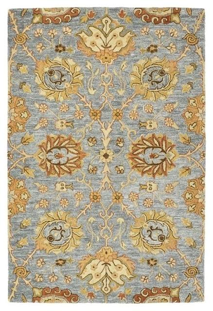 "Kaleen Hand-Tufted Brooklyn Wool Rug, Slate, 5'x7'6"""