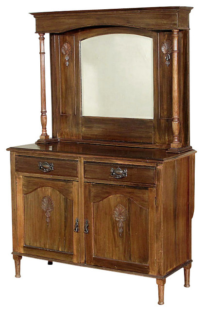 Antique Walnut Colonial Mirror Buffet Sideboard Server