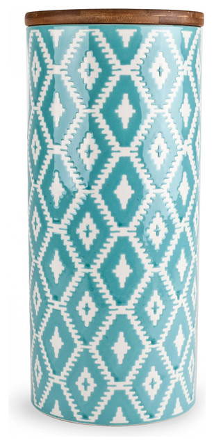 11 Quot Teal Tribal Ceramic Canister Contemporary Kitchen