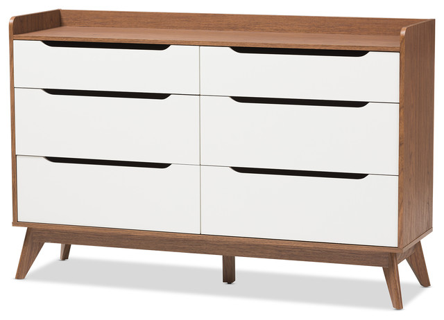 Mid Century Modern White And Walnut Wood 6 Drawer Storage Dresser