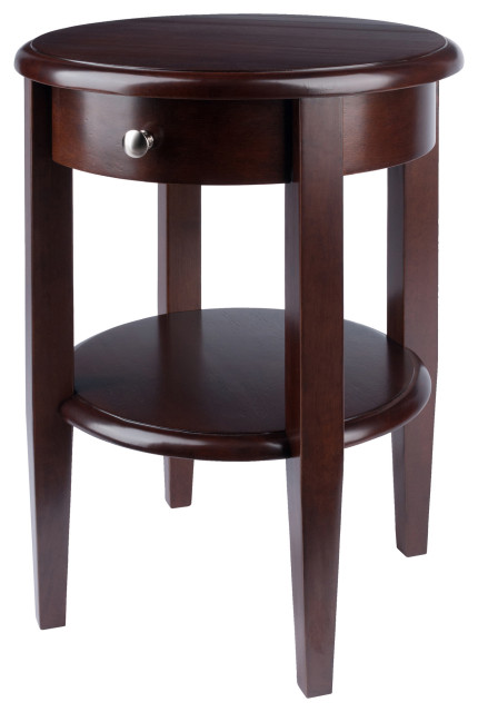 Concord Round End Table With Drawer And, Round Table Concord