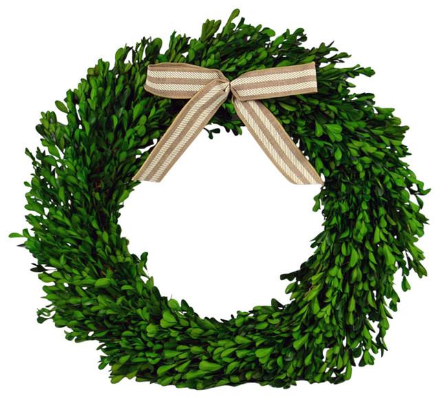Boxwood Wreath With Ribbon.