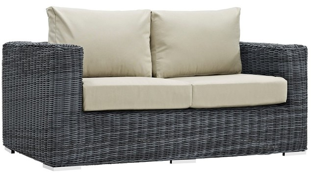 Modway Summon Outdoor Patio Sunbrella Loveseat, Beige Canvas.