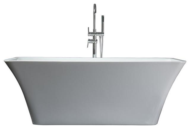 "Vinter 67"" Free Standing Acrylic Freestanding Bathtub With Chrome Drain"