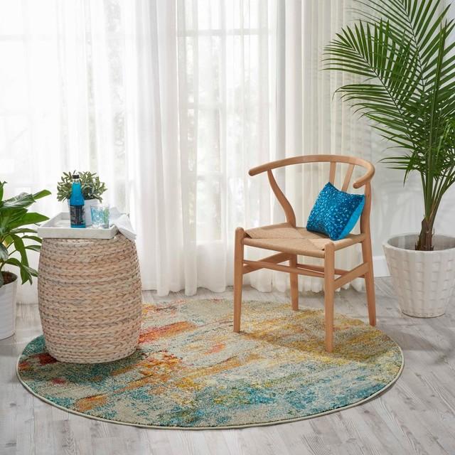 "Nourison Celestial Contemporary Area Rug, Multicolor, 7'10"" Round"