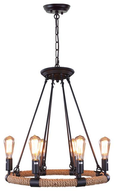 retro style 6light metal hemp rope pendant lights fixture chandelier
