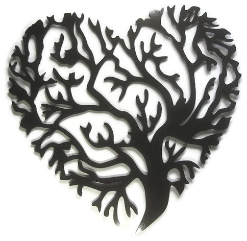 "Tree Of Life Heart Metal Wall Hanging, Black Hammer Paint, 26""x 27""."