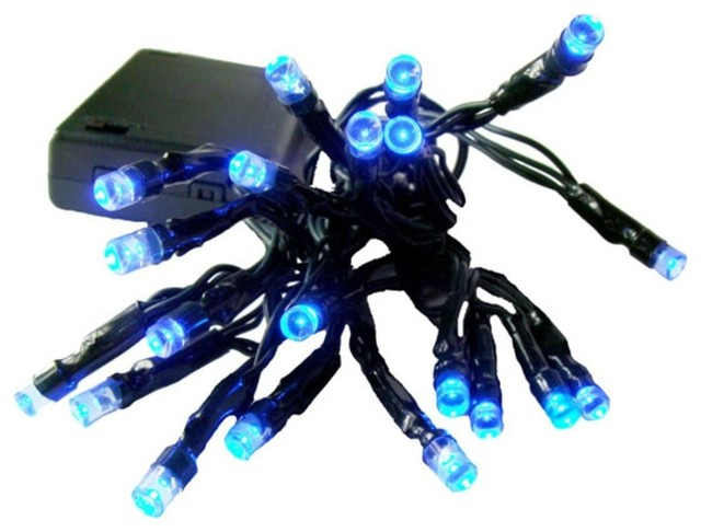 Battery Operated Led Wide Christmas Lights, Blue/green.