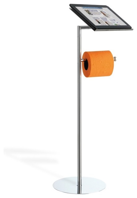 floor standing toilet roll holder with tablet holder