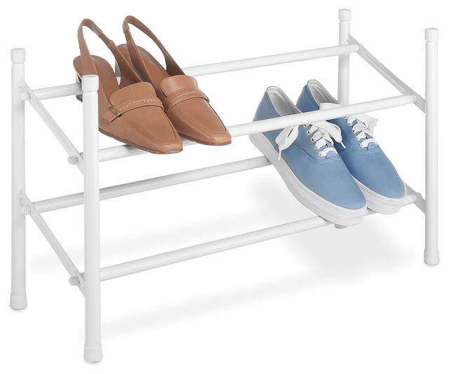Whitmor White Stackable And Expandable Shoe Rack.