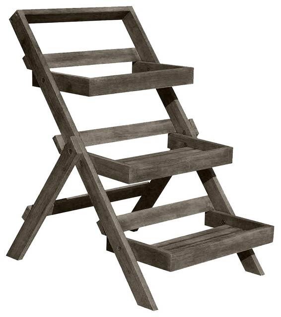 47839be82a00 Renaissance Eco-Friendly Hand-Scraped Hardwood Three-Layer Garden Planter  Stand - Transitional - Plant Stands And Telephone Tables - by Vifah