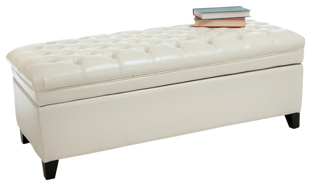 Leather Storage Ottoman Bench Contemporary Accent And Storage Benches By Gdfstudio