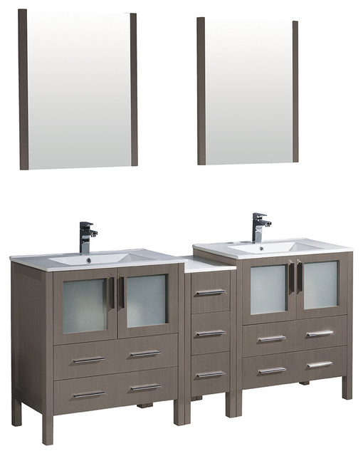 Torino 72 Gray Oak Double Sink Bathroom Vanity Side Cabinet Integrated