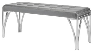 Eiffle Occasional Bench by Nuevo, Brushed Stainless Steel Frame/Gray