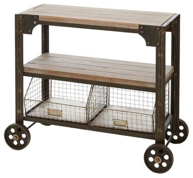 Rolling Cart With Wire Baskets | Vintage Industrial Rolling Cart With Wire Basket Storage 36