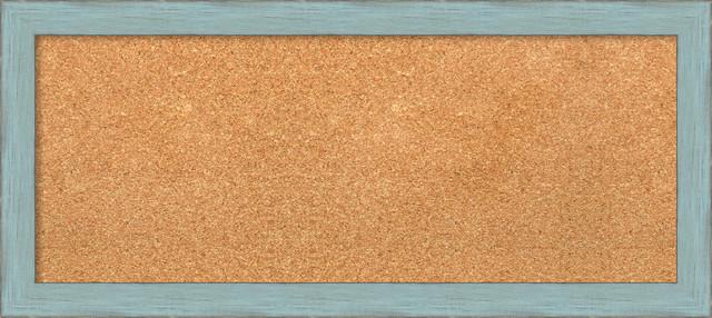 Framed cork board sky blue rustic 33 x15 modern for Modern cork board