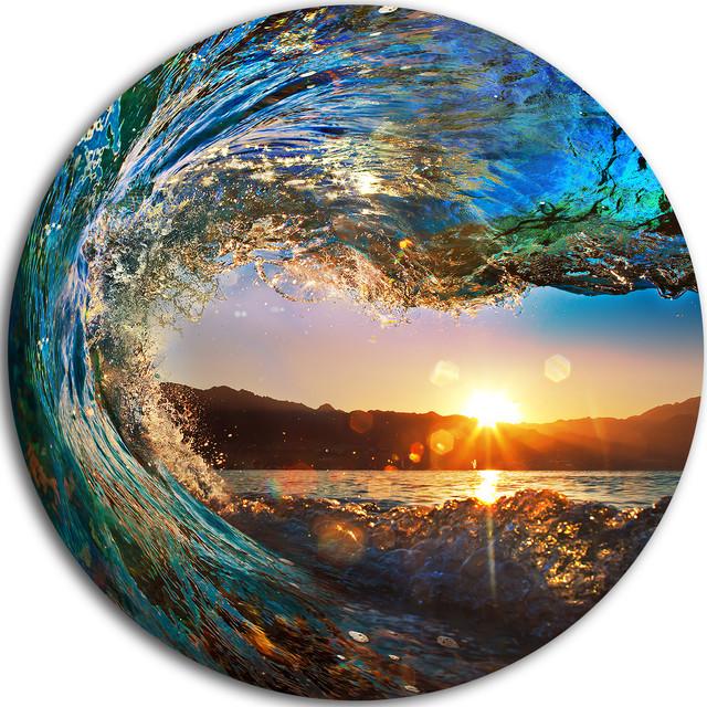 """colored Ocean Waves Falling Down"" Metal Wall Art, 38"". -1"