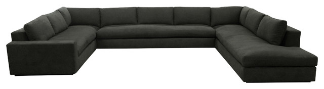 kai modern u shaped sectional sofa in black linen modern