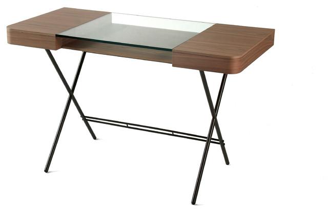 Cosimo Matte Brown Glass Top Desk Walnut Veneer Drawers