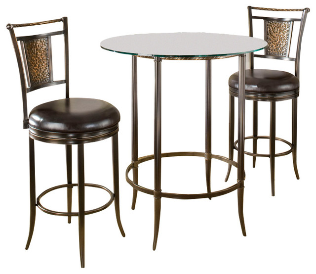 Roundhill Furniture 3 Piece Counter Height Pub Table Set: Parkside 3-Piece Bar Height Pub Table Set