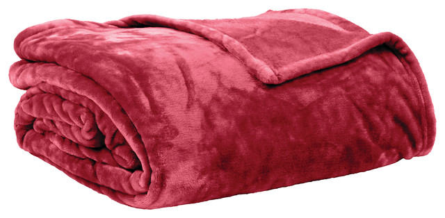Plait-Patterned Micro Flannel Throw, Red, Small