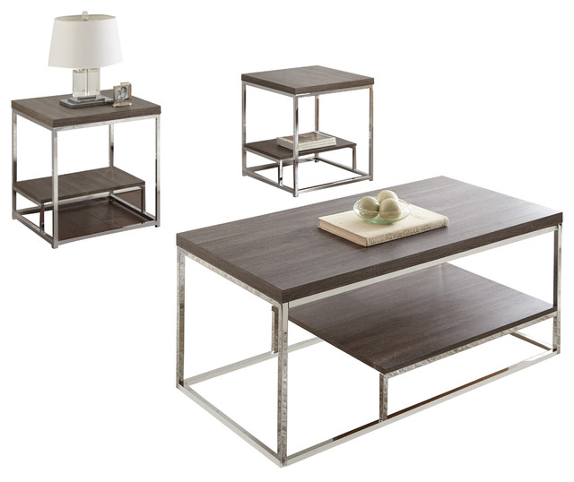 Lucia 3-Piece Occasional Table Set, Gray.